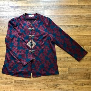 Jackets & Blazers - Blue Knit Jacket Woven Button Front Embroidered